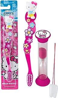 Hello Kitty Inspired 2pc Bright Smile Oral Hygiene Set! Girl's Hot Pink Soft Manual Toothbrush & Brushing Timer! Plus Bonus