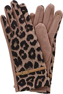 CTM Women's Leopard Print Touch Screen Glove
