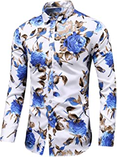Men's Slim fit Floral Printed Beach Hawaiian Button-Down Dress Shirt
