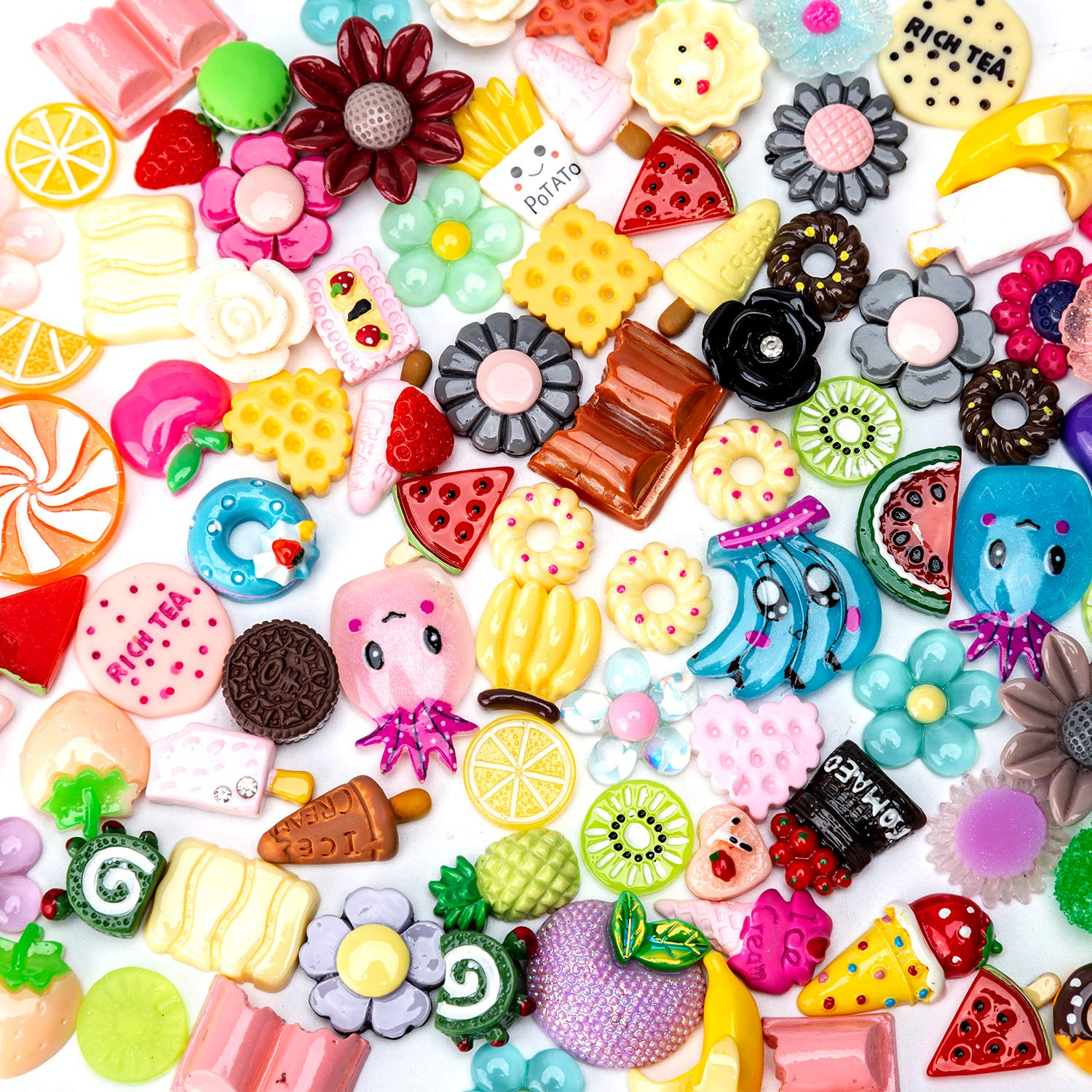 AIEX 100 Pieces Charms for Slime Cute Set Mixed Fruit, Cake, Candy Sweets Resin Embellishments for Handmade Scrapbooking DIY Crafts Making