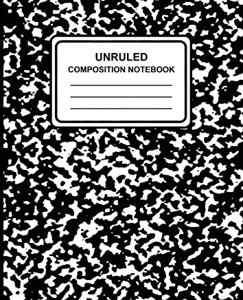 "Unruled Composition Notebook: Marble (Black), 7.5"" X 9.25,"" Unruled Notebook, 100 Pages, Professional Binding"