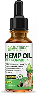 Premium Hemp Oil Extract Drops for Dogs, Cats, Horses, Pets 1000MG - Organic Veterinarian-Grade Calming Anti-Anxiety-Aggression, Pain Relief, Hip & Joint Support, Sleep Aid, Non-GMO CO2 Extracted