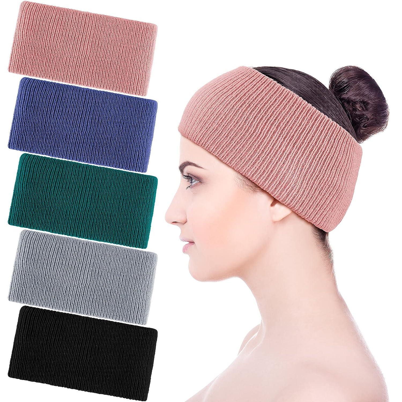 5 Pieces Women Winter Headbands Knit Soft Elastic Head Wraps Warm Crochet Ear Warmer for Women Wash Face Daily Wear (Black, Royal Blue, Pink, Peacock Blue, Gray)