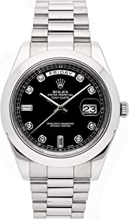 Rolex Day-Date II Mechanical (Automatic) Black Dial Mens Watch 218206 (Certified Pre-Owned)