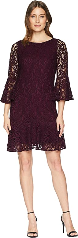 Bell Sleeve Lace Dress with Flounce Hem CD8L25JM