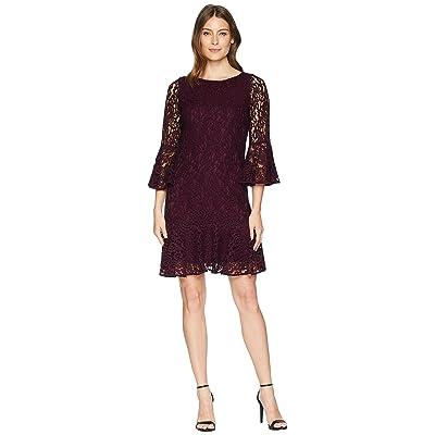 Calvin Klein Bell Sleeve Lace Dress with Flounce Hem CD8L25JM (Aubergine) Women