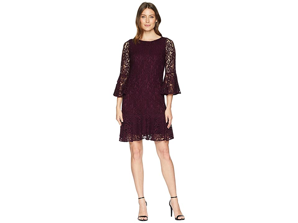 Calvin Klein Bell Sleeve Lace Dress with Flounce Hem CD8L25JM (Aubergine) Women