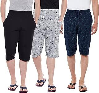 VIMAL JONNEY Cotton Multicolor Capris-3/4ths for Men(Pack of 3) (D13-BL_PRTN_PRTM_003-P)