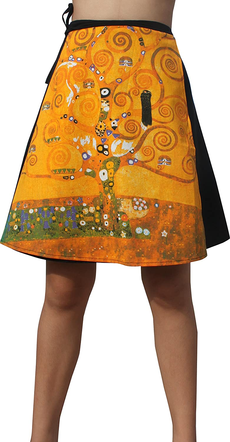 Raan Pah Muang RaanPahMuang Gustav Klimt The Tree of Life Mini Wrap Skirt Black Back