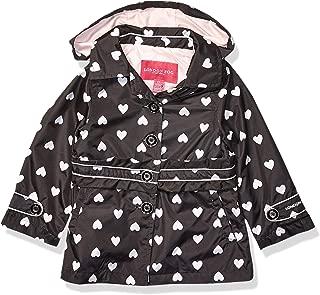 London Fog Girls' Toddler Lightweight Trench Dress Coat Jacket, Black White Heart, 3T