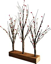 CVHOMEDECO. Battery Operated w/Timer Illuminated Pip Berry Tree Centerpiece Lighted Three Trees Tabletop LED Lights with R...
