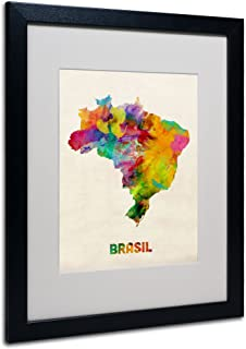 Brasil Watercolor Map by Michael Tompsett, White Matte, Black Frame 16x20-Inch