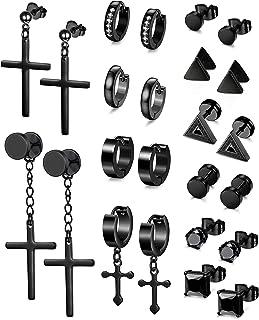 LOLIAS 6-12 Pairs Black Stud Earrings Hoop Earrings Set for Men Women Stainless Steel Cross Huggie Earrings Piercing