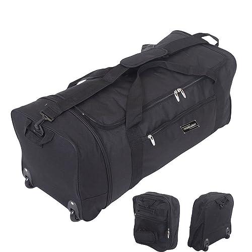 c7e2c53748 32 Inch Large Folding Wheeled Travel Sports Cargo Holdall Duffle Bag (0  Black)