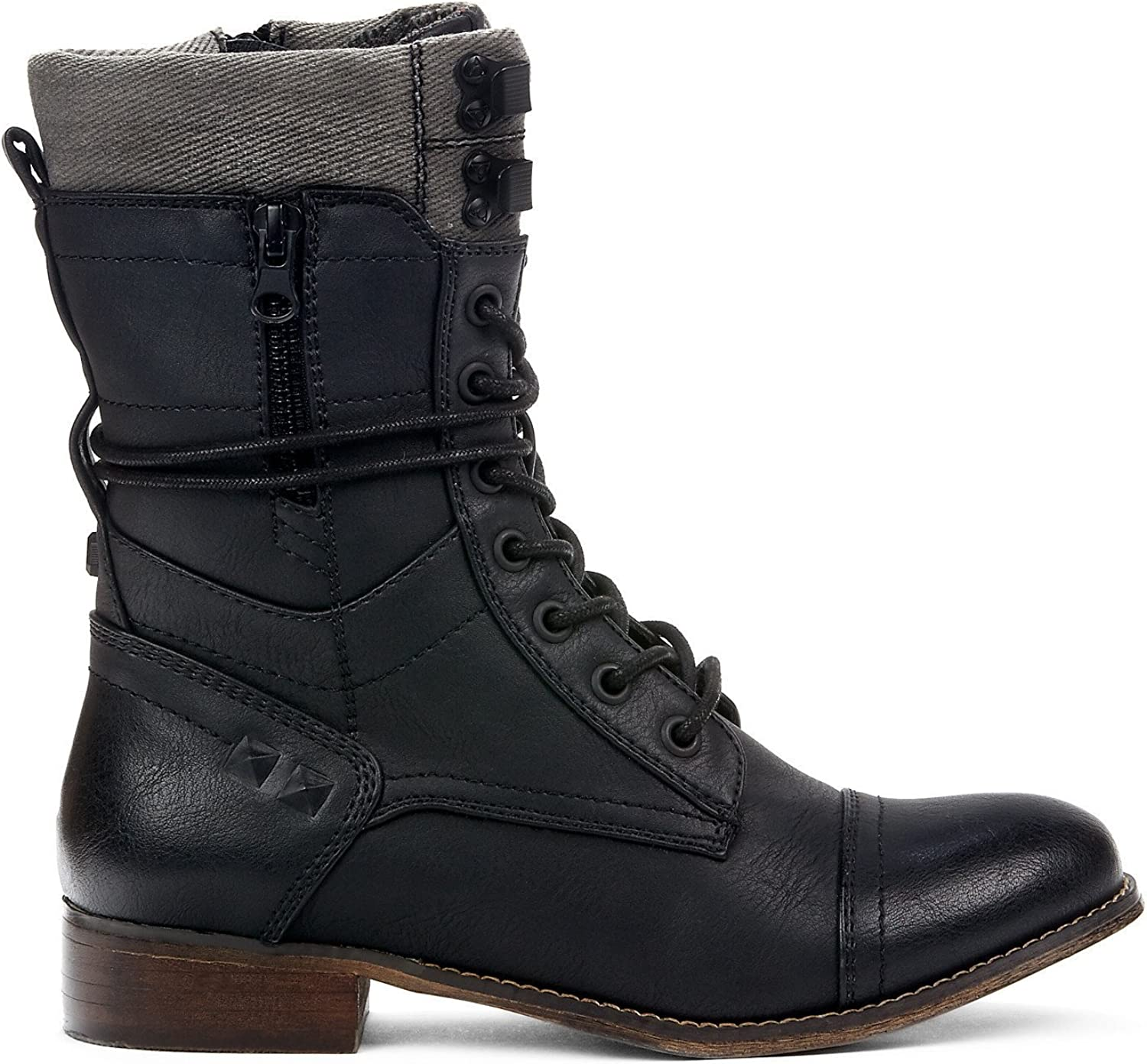 SEATTLE Women Black Combat Boots - Perfect for Spring Fall Winter - Casual & Comfortable & Trendy & Fashion - Calf High Low Block Heel Made from Synthetic Leather & Memory Foam - Army Military Laced Up Toe Cap Style
