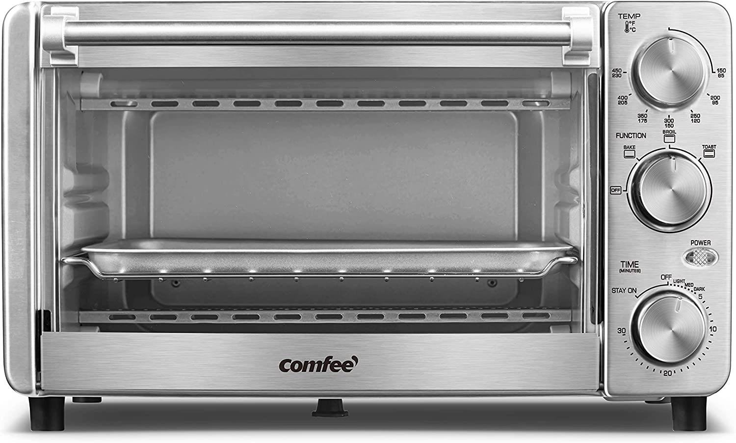 COMFEE' Toaster Oven, 4 Slice, 12L, Multi-function Stainless Steel Finish with Timer-Toast-Bake-Broil Settings, 1100W, Perfect for Countertop (CFO-BG12(SS)): Home & Kitchen
