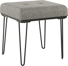 HomePop Mid Mod Square Decorative Ottoman with Metal Hairpin Legs, Grey