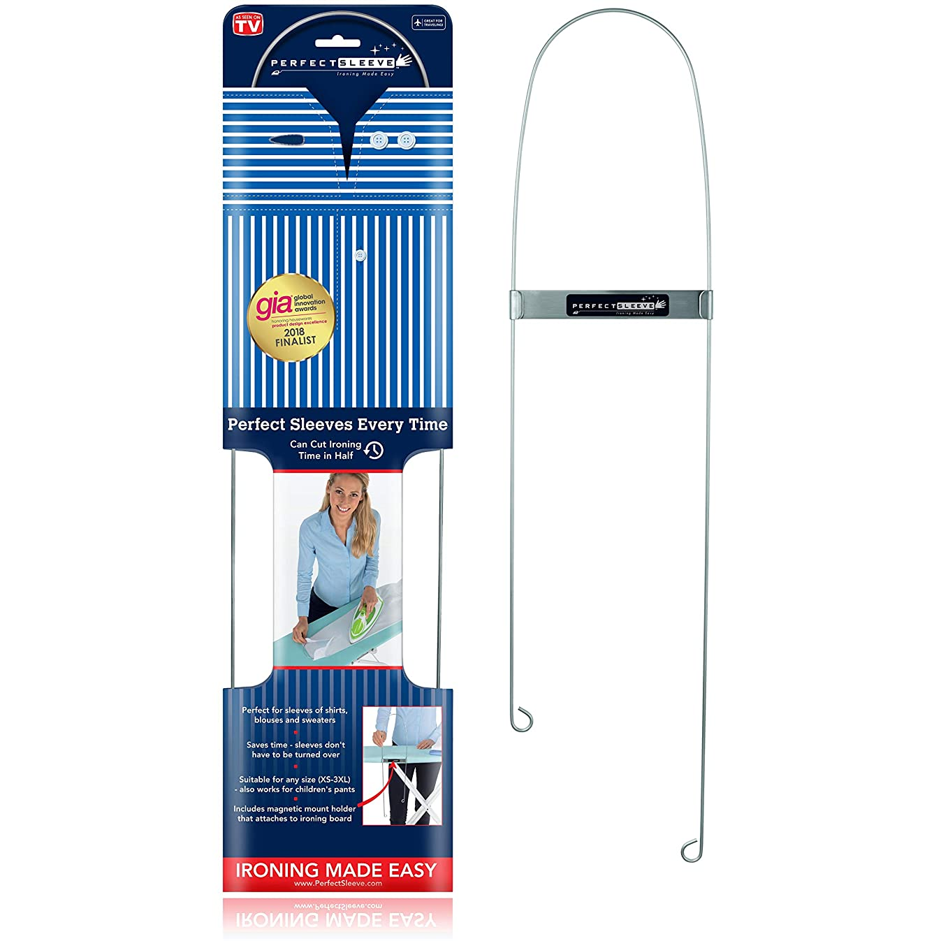 Perfect Sleeve Ironing Assistant for Wrinkle-Free Shirt Sleeves, Includes Magnetic Holder, Stainless Steel cv19036516303