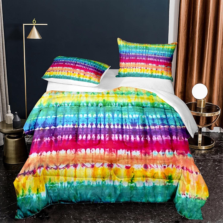 Rainbow Tie Dye [ギフト/プレゼント/ご褒美] Bedding Set Girls C 期間限定今なら送料無料 Size Twin Comforter Dyed
