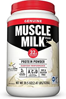 Muscle Milk Genuine Protein Powder, Vanilla Crème, 32g Protein, 2.47 Pound