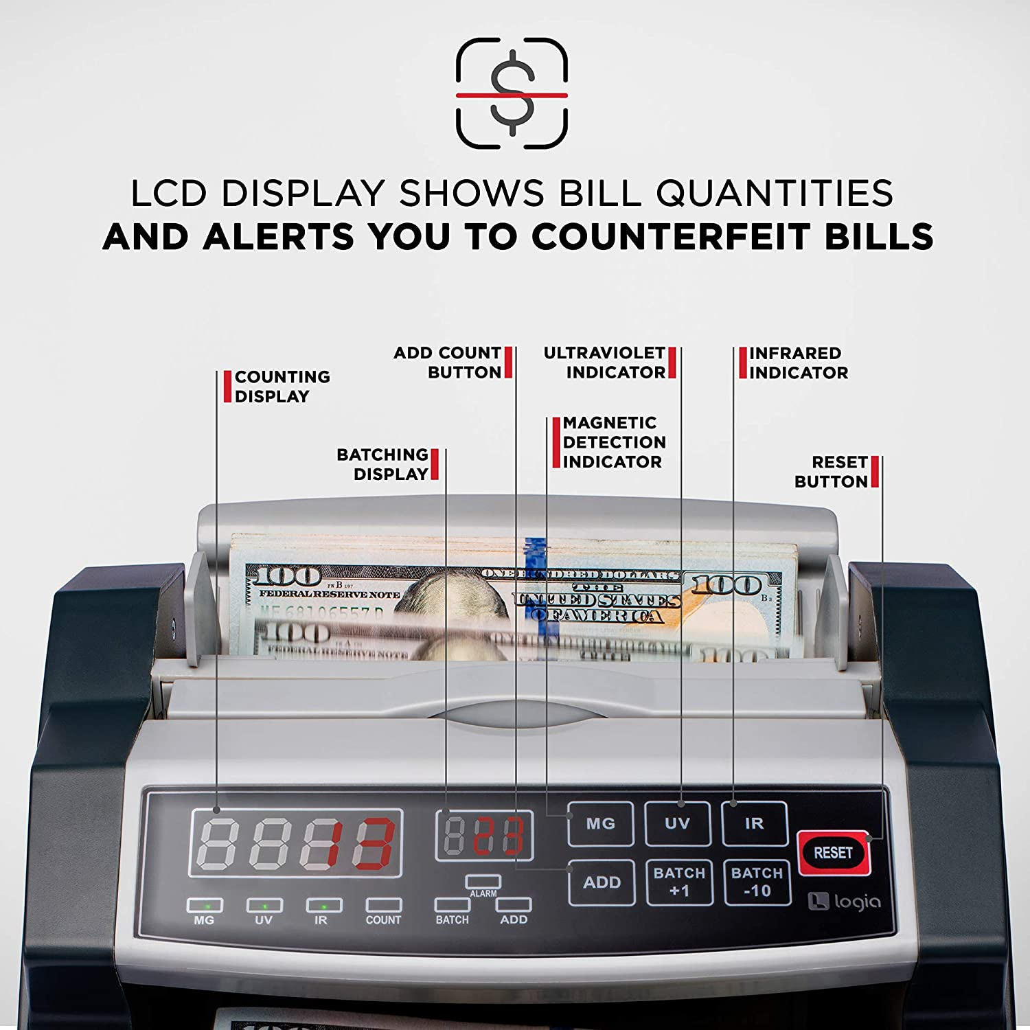 Logia Money Counter, Automatic Counting, Custom Batching, Adjustable Tray, LED Display, Counterfeit Detection, Self-Check, Customer-Facing Display and Handle : Office Products