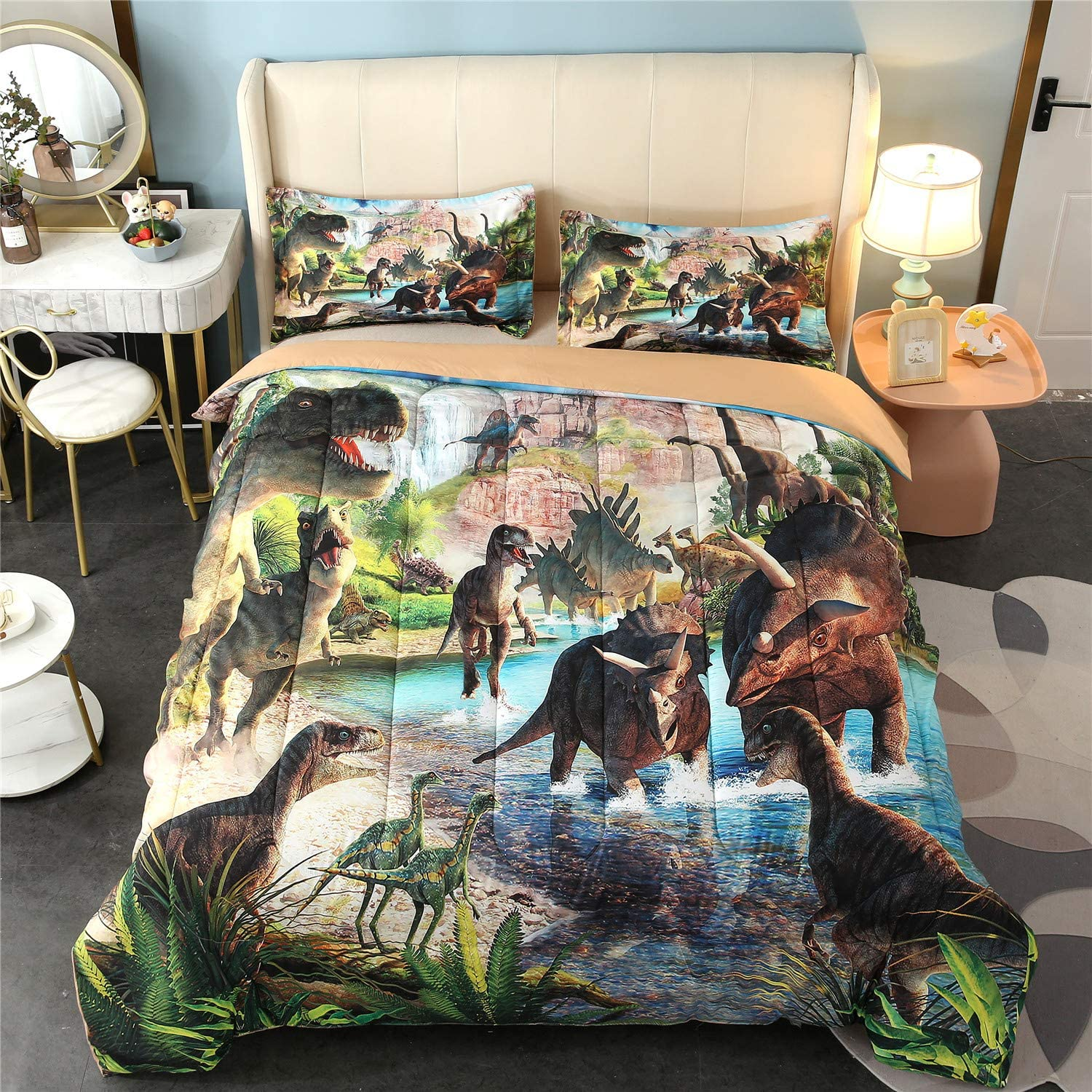 YOMIMAX Dinosaur Free shipping Comforter Set Cartoon Soft Quilt Complete Free Shipping Din Print