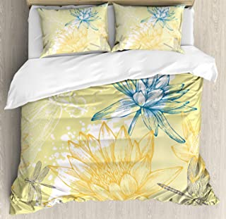 Dragonfly Duvet Cover Set by Ambesonne, Boho Style Plants Dragonflies Sketchy Illustration, 3 Piece Bedding Set with Pillow Shams, King Size, Yellow White Petrol Blue