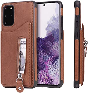 PU Leather Flip Cover Compatible with Samsung Galaxy S20, Elegant brown Wallet Case for Samsung Galaxy S20