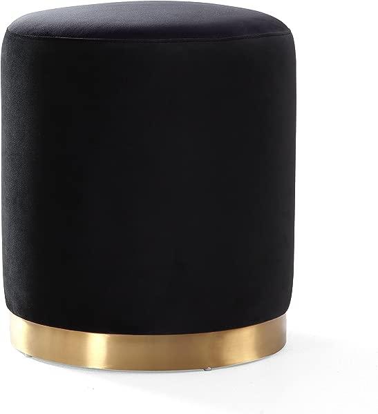 TOV 家具猫眼石系列天鹅绒软垫圆形搁脚凳客厅搁脚凳配有金色成品金属底座黑色