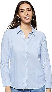 Giordano Women's 05348219 Women Cotton Linen Long Sleeve Shirt