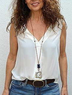 Collar largo de cuero con colgante de zamak plata y cuentas de cristal, Joyas artesanales