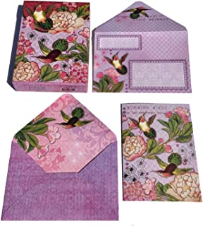 Pooch & Sweetheart Peony Hummingbirds Embellished Blank Note Card in Pouch (73751)