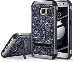 UARMOR Case for Samsung Galaxy S7, Glitter Bling Rugged Shockproof Dirtproof Hybrid Slim Fit Case Sparkle Shiny Faux Leather Chrome Hard Case Cover, Black