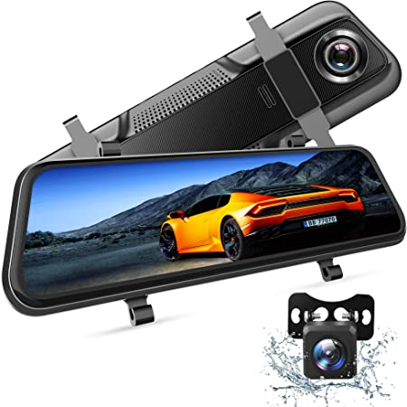 "VanTop H609 Dual 1080P Mirror Dash Cam with 10"" IPS Full Touch Screen w/Waterproof Backup Rear View Camera, Night Vision, Parking Monitor, Loop Recording"