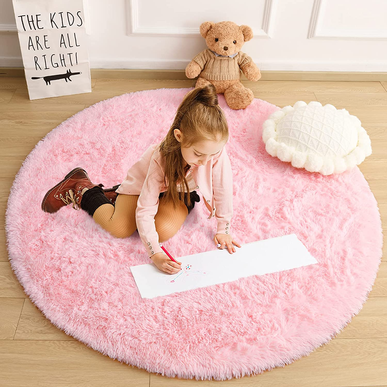 Cydiria Pink Round Rugs for Teens Girls Kids Bedroom, Cute Fluffy Circle Shaggy Area Rug Fuzzy Carpet for Baby Nursery Home Decor, 4Ft Soft Circular Rugs for Living Room, Plush Princess Castle Rugs