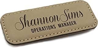 Personalized Name Tag - Custom Engraved Employee Badges - Monogrammed Professional Name Tags (Tan)