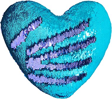 """Play Tailor Mermaid Throw Pillow with Insert Reversible Sequins Pillow Heart Shape Decorative Cushion(13"""" x 15"""",Bright Green+Bright Purple)"""