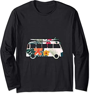 Colorful flowers hippie lifestyle surfer van graphic image Long Sleeve T-Shirt