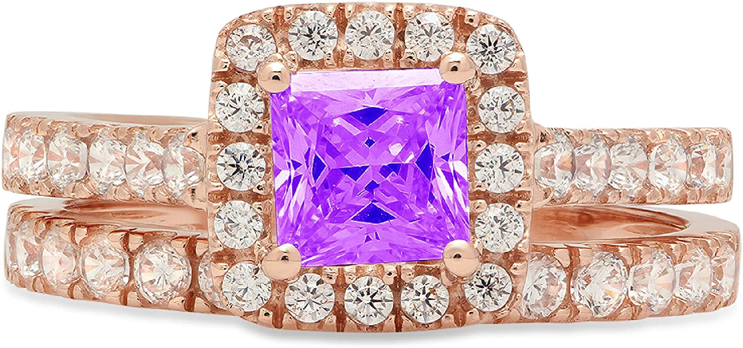 1.54ct Princess Cut Halo Pave Solitaire with Accent VVS1 Ideal Natural Purple Amethyst Engagement Promise Designer Anniversary Wedding Bridal Ring band set 14k Rose Gold