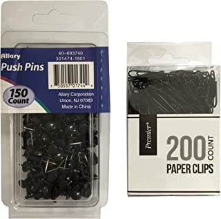 Black Paper Clip and Push Pin Office Supply Set - 200 Paper Clips, 150 Push Pins (Black)