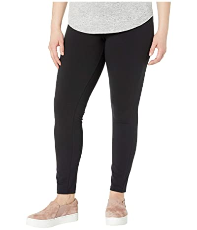 HUE Plus Size Wide Waistband Blackout Cotton Leggings (Black) Women