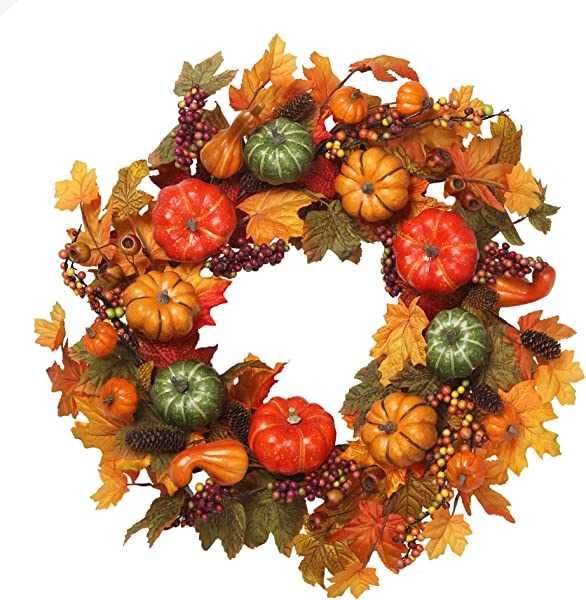 VGIA 22 Inch Artificial Fall Wreath Fall Maple Leaves Pumpkins With Berries For Front Door Fall Harvest Decorations
