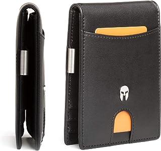 SPARTANO Portafoglio Uomo Slim Vera Pelle con Protezione RFID, Porta Carte di Credito con Clip per Contanti, Portafogli So...