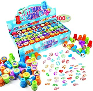 100 Pieces Assorted Stamps for Kids Self-ink Stamps (50 DIFFERENT Designs, Emoji Stampers, Dinosaur Stampers, Zoo Safari S...