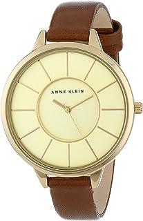 Anne Klein Women's AK/1500CHBN Gold-Tone Case Thin Brown Leather Strap Watch