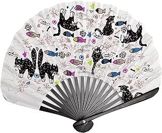 Salutto Circular Fan Folding Round Hand Fan Bamboo Handheld Cat Printed Wedding Gift Dancing Black