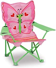 Melissa & Doug Bella Butterfly Child's Outdoor Chair (Easy to Open, Handy Cup Holder, Cleanable Materials, Carrying Bag, 23.7