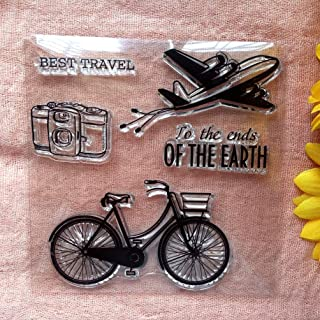 GAWEI Clear Stamps for Scrapbooking and Card Making Words Best Travel Bicycle Aircraft Transparent Stamps Silicone Stamps ...