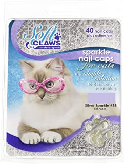 Soft Claws Feline Nail Caps - 40 Nail Caps and Adhesive for Cats (Silver Sparkle, Large)