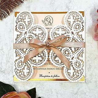 Eleganti inviti di nozze in pizzo con taglio laser - Nastro color pesca, biglietti per inviti Fai da te in oro rosa sventa...